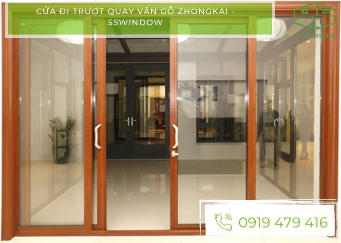 cửa đi trượt quay vân gỗ zhongkai
