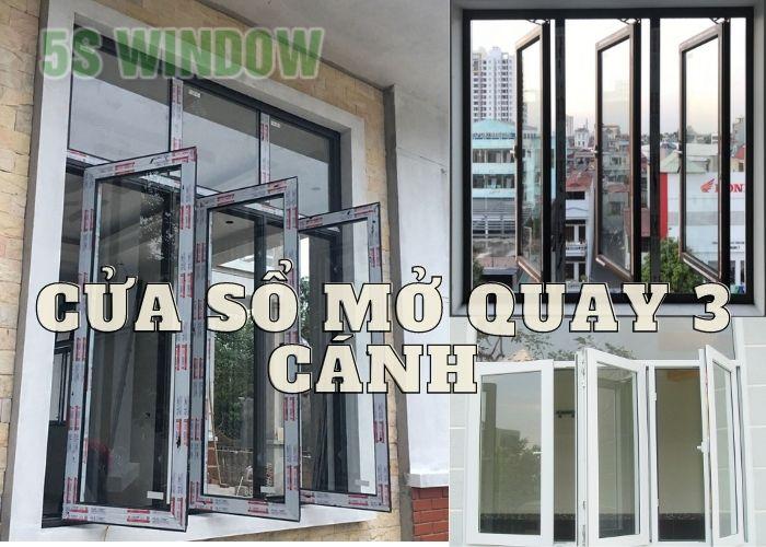 Cửa sổ mở quay 3 cánh nhôm xingfa